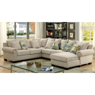 Furniture Of America Casana Transitional Ivory Upholstered Sectional