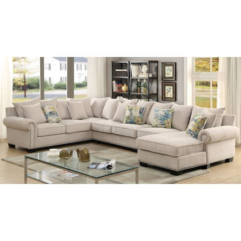 Furniture of America Riti Contemporary Ivory Fabric 4-piece Sectional
