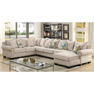 Furniture of America Casana Transitional 2-piece Ivory Upholstered Sectional Set