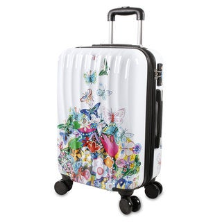 J World Art Butterfly White 20-inch Fashion Hardside Carry-on Spinner Upright Suitcase