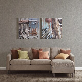 INK+IVY Weathered Objects Multi Gel Coat Printed On Canvas (Set of 2)