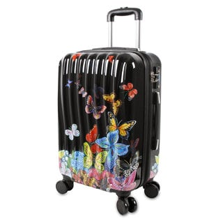 J World Art Butterfly Black Polycarbonate 20-inch Fashion Hardside Carry-on Spinner Upright Suitcase