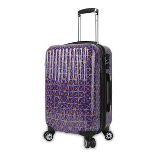 J World Titan Art Collection Squares 20-inch Fashion Hardside Carry-on Spinner Suitcase