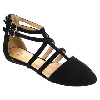 Betani FC42 Women's Double Ankle Strap T-strap Ballerina Flats Half Size Big