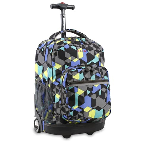 J World New York Sunrise 18-inch Rolling Backpack - Cubes