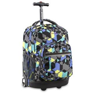 J World New York Sunrise 18-inch Rolling Backpack - Cubes