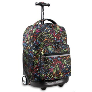J World New York Sunrise 18-inch Rolling Backpack - Doodle