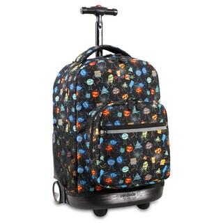 J World Sunrise Party Mobs Black Aluminum/Plastic 18-inch Rolling Backpack