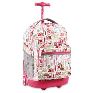 J World Sunrise Heart Factory 18-inch Rolling Backpack