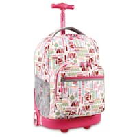 J World Sunrise Heart Factory 18-inch Rolling Backpack