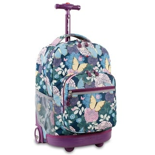 J World Sunrise Secret Garden 18-inch Rolling Backpack