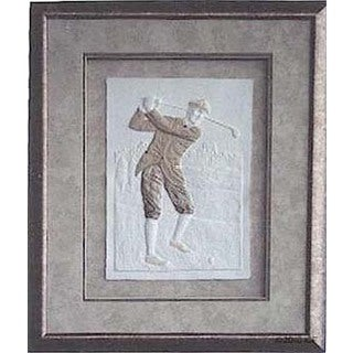 Cast Paper 'Victorian Golfer I' 18x22 Indoor/ Outdoor Framed Art