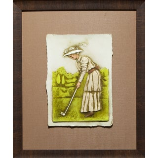 Cast Paper 'Victorian Golfer Il' 19x23 Indoor/ Outdoor Framed Art