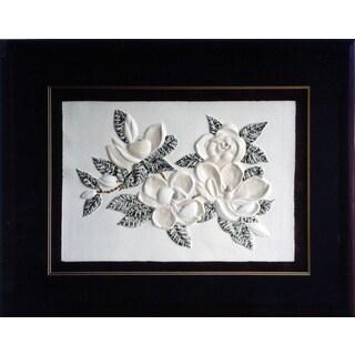 Cast Paper 'Magnolia' 36x44 Indoor/ Outdoor Framed Art