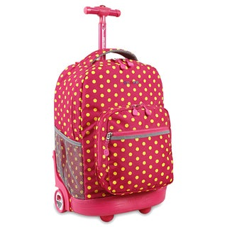 J World Sunrise Pink Buttons 18-inch Rolling Backpack