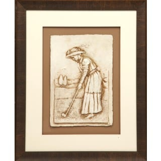 Cast Paper 'Victorian Golfer ll' 19x23 Indoor/ Outdoor Framed Art