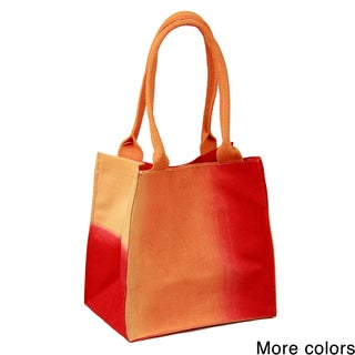 Handmade Saachi Indian Summer Tiny Tote Canvas Ombre Bag (India)