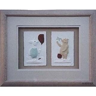 Cast Paper 'Piglet & Pooh Combo' 13x16 Indoor/ Outdoor Framed Art