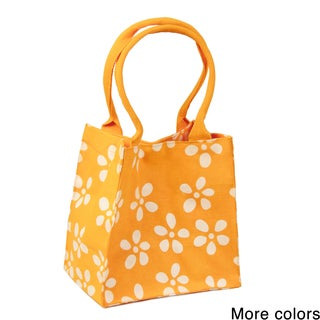 Handmade Saachi Indian Summer Tiny Tote Canvas Marigold Bag (India)