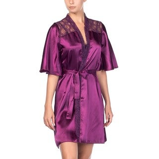 Miorre Purple Satin Robe with Lace Detailing