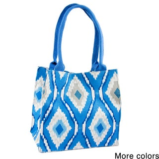 Handmade Saachi Indian Summer Tiny Tote Canvas Ikat Bag (India)