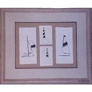 Cast Paper 'Sailboat Suite' 24x28 Indoor/ Outdoor Framed Art