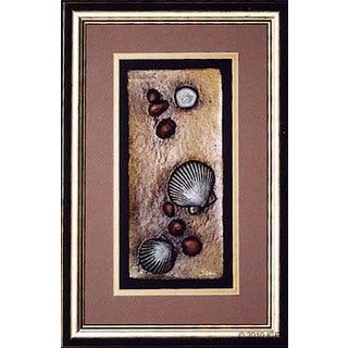 Cast Paper 'Beach Shells I' 12x18 Indoor/ Outdoor Framed Art