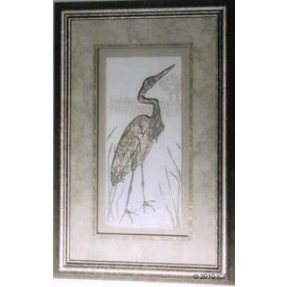 Cast Paper 'Egret' 12x18 Indoor/ Outdoor Framed Art