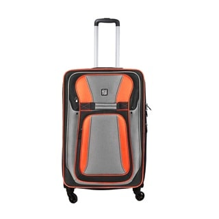 Ful Delancey Black and Orange Polyester 28-inch Expandable Spinner Upright Suitcase
