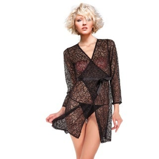 Miorre Sheer Black Paisley Lace Robe with Tie