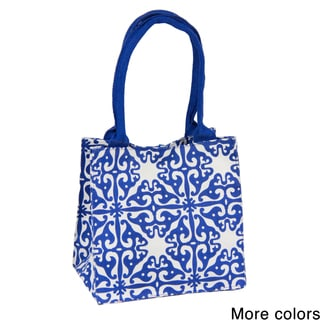 Handmade Saachi Indian Summer Tiny Tote Canvas Tile Bag (India)