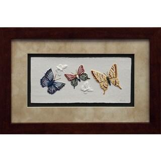 Cast Paper 'Butterfly I' 12x18 Indoor/ Outdoor Framed Art