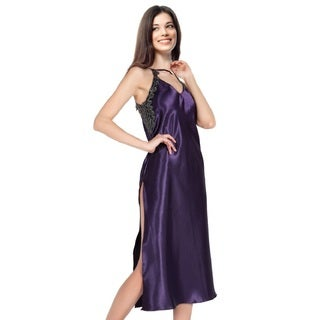 Miorre Women's Purple Embroidered and Beaded Applique Long Nightgown