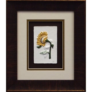 Cast Paper 'Sunflower II' 11x13 Indoor/ Outdoor Framed Art