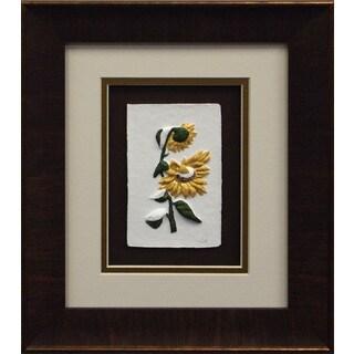 Cast Paper 'Sunflower I' 11x13 Indoor/ Outdoor Framed Art