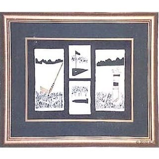 Cast Paper 'Golf Suite' 24x28 Indoor/ Outdoor Framed Art