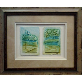 Cast Paper 'Sm. Golf Flag & Sandtrap' 14x17 Indoor/ Outdoor Framed Art