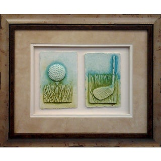Cast Paper 'Sm. Golf Teeball & Club' 14x17 Indoor/ Outdoor Framed Art