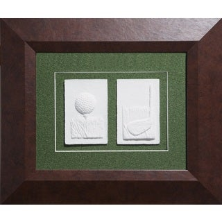 Cast Paper 'Sm. Golf Teeball & Club' 17x20 Indoor/ Outdoor Framed Art