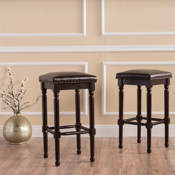Osvald 27 Inch Studded Bonded Leather Counter Stool Set