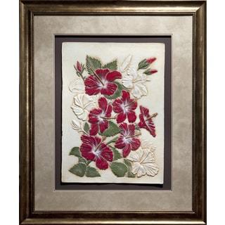 Cast Paper 'Hibiscus' 38x46 Indoor/ Outdoor Framed Art