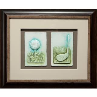 Cast Paper 'Sm. Golf Club & Teeball' 14x17 Indoor/ Outdoor Framed Art