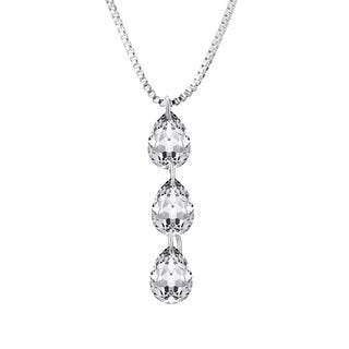 Silver Overlay 6 Carat TGW Crystal Pendant Necklace
