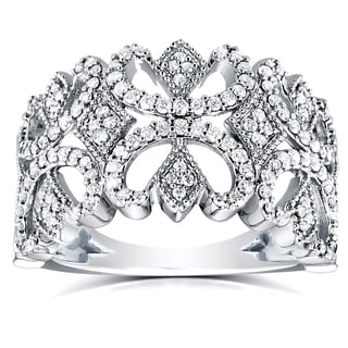 Annello 10k White Gold 1/2ct TDW Diamond Butterfly Filigree Wide Anniversary Band (H-I, I1-I2)
