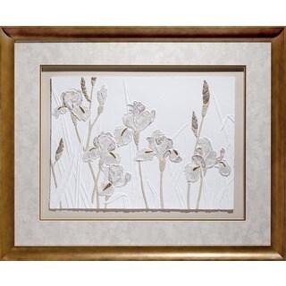 Cast Paper 'Iris Garden' 38x46 Indoor/ Outdoor Framed Art