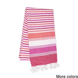 Handmade Saachi Oversized Cotton Fouta Striped Beach Towel (India)