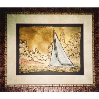 Cast Paper 'Summer Sail' 38x46 Indoor/ Outdoor Framed Art