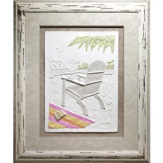 Cast Paper 'Wish You Were Here ll' 38x46 Indoor/ Outdoor Framed Art