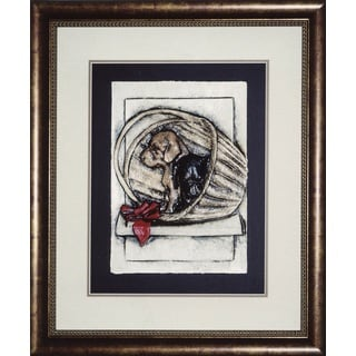 Cast Paper 'Pups in a basket' 24x28 Indoor/ Outdoor Framed Art