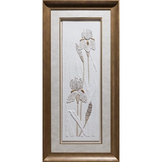 Cast Paper 'Iris Panel ll' 21x42 Indoor/ Outdoor Framed Art